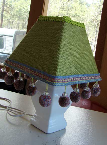 burlap_lampshade crafty_lampshade ridiculous_lampshade dingle_balls pom_poms