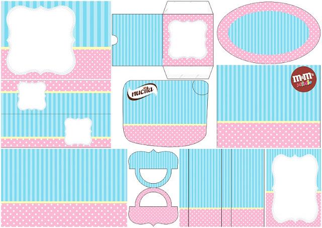 Celeste, Rosa y Amarillo: Etiquetas para Candy Bar para Imprimir Gratis.