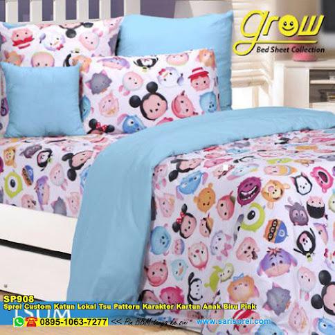 Sprei Custom Katun Lokal Tsu Pattern Karakter Kartun Anak Biru Pink