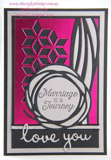 #thecraftythinker  #stampinup  #anniversarycard  #cardmaking  #swirlyscribbles  #masculinecard , Anniversary Card, Swirly Scribbles, Eclectic Layers, Pink can be masculine, Stampin' Up Australia Demonstrator, Stephanie Fischer, Sydney NSW