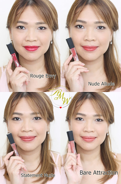 a photo of askmewhats nikki tiu wearing L'Oreal Infallible Pro Matte Gloss rouge envy, nude allude, statement nude and bare attraction