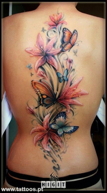 Beautiful 3D Flower and Butterfly Tattoos