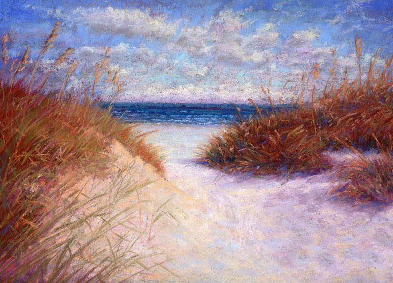 pastel painting dunes and white sandy beach coastal pastel painting