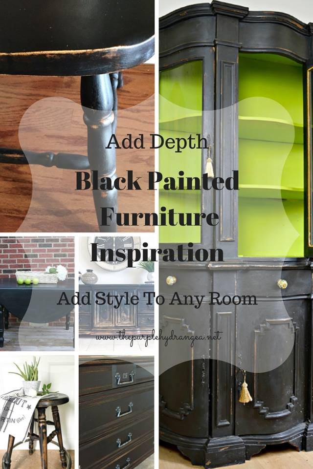black painted furniture, black chalk paint, black furniture, black painted dressers, black painted hutch, black painted tables