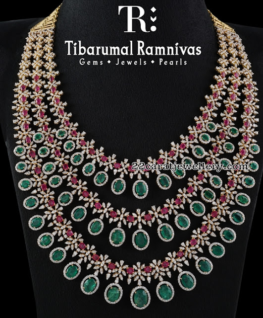 Three Lyer Diamond Ruby Long Chain by Tibarumal