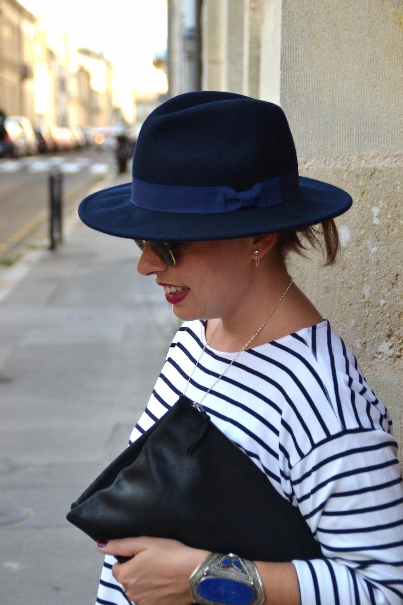 chapeau en feurtine Aleane officiel, pochette noire American Vintage