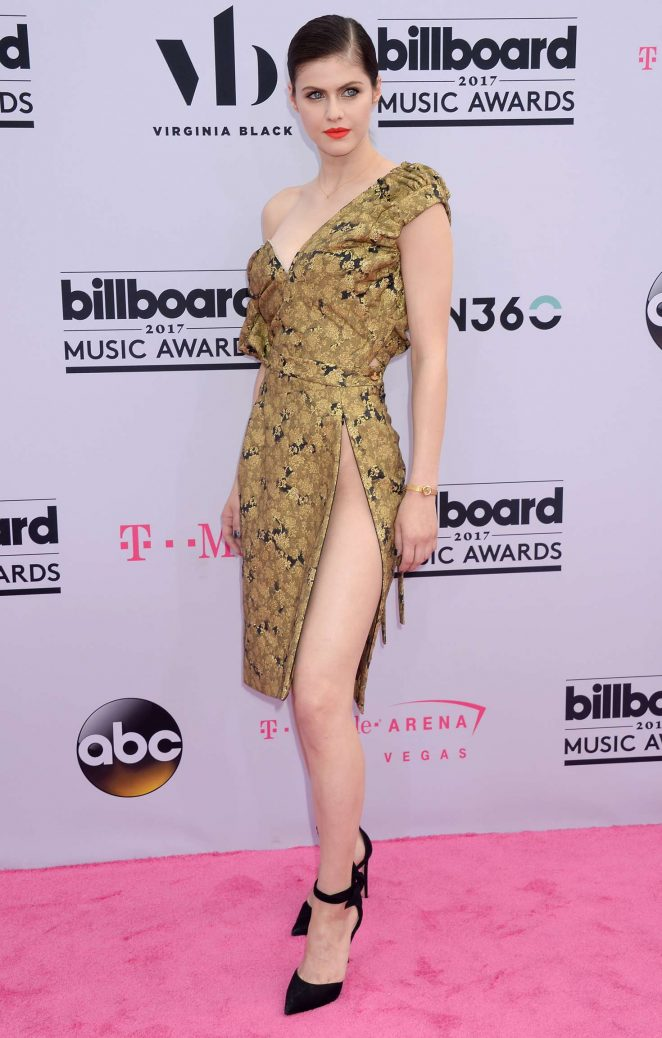 Alexandra Daddario flaunts daring slit at the 2017 Billboard Music Awards