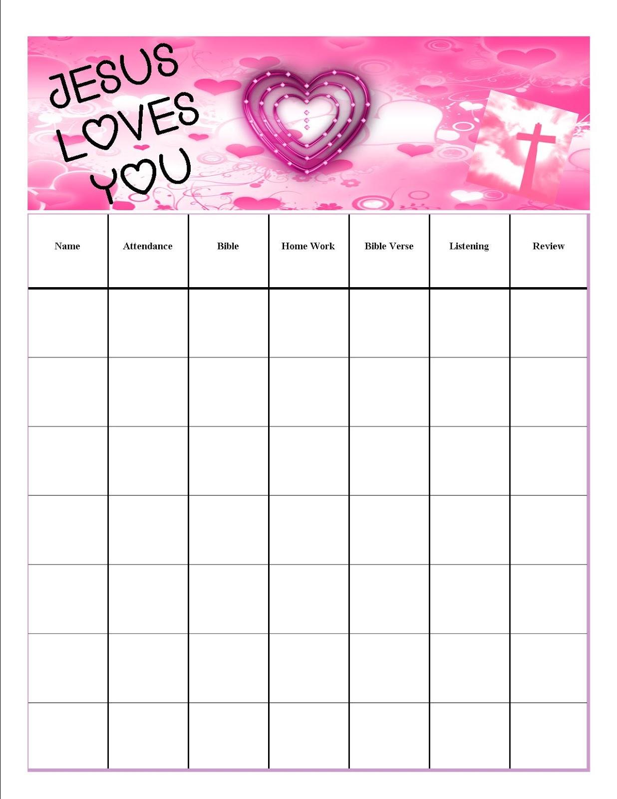 Children S Gems In My Treasure Box February Attendance Chart