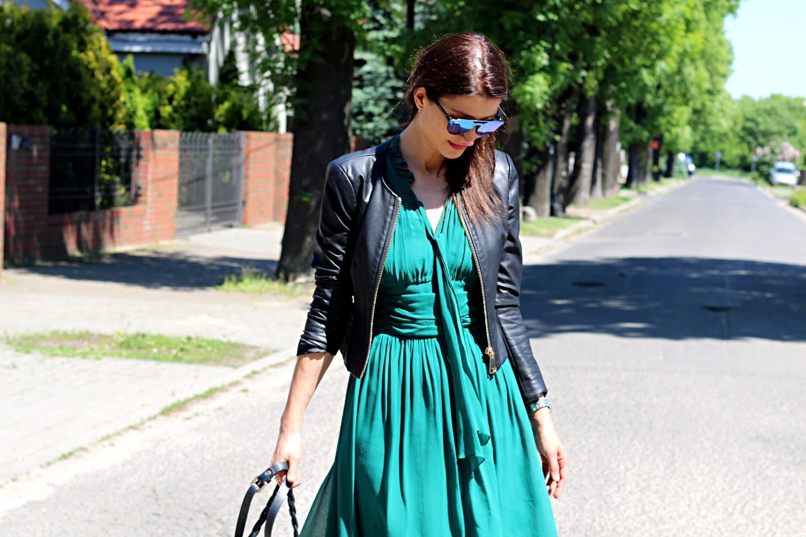 elegancko, sukienki koktajlowe, komunia sw, novamoda style, szmaragdowy, skórzana kurtka, carolina lemke berlin, co założyć na ślub, na komunie