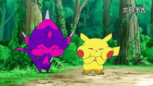 Pokemon Sol y Luna Capitulo 67 Temporada 20 Pika Pika brillante amor, Poipole girando