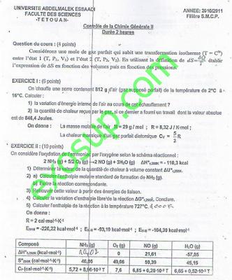 contrôles chimie génerale thermochimie avec correction smpc FS Tétouan