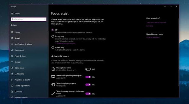 Windows 10'daki Odak Yardımı özelliğidir.