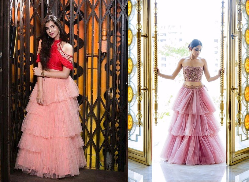 764ea3ffdb6 After sheer capes the biggest festive ethnic wear trend right now is  ruffles. Ruffled or tiered lehengas give a dreamy disney princess vibe and  make for ...