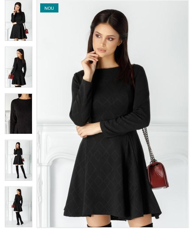 Rochie casual cu maneci neagra clos cu maneci luingi din jerse