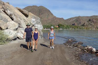 Mark, Lisa and Liz on a morning walk. Baja Mexico