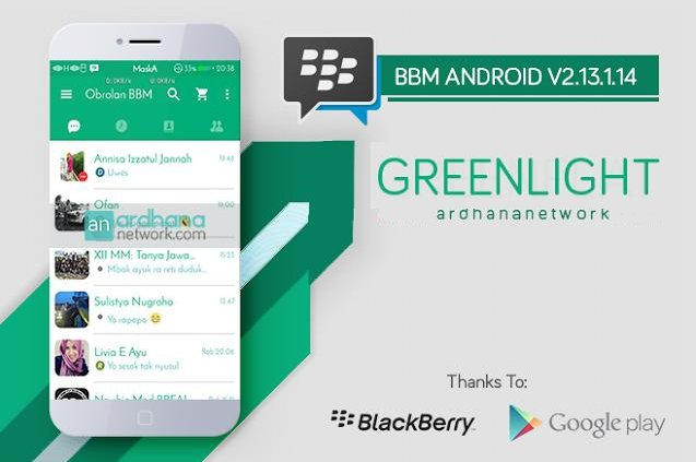 BBM MOD Green Light versi Terbaru 2.13.1.14 for Android