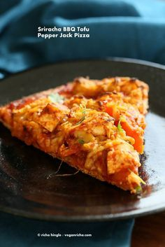 Sriracha BBQ Tofu Pizza with Pepper Jack on Spelt Crust. Vegan Recipe