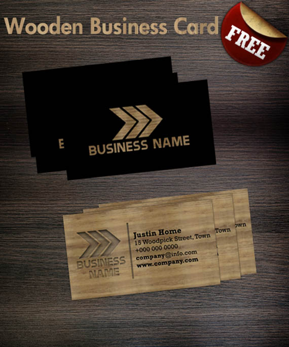 Freebie wooden business card template canal adobe photoshop download wooden business card template reheart Image collections