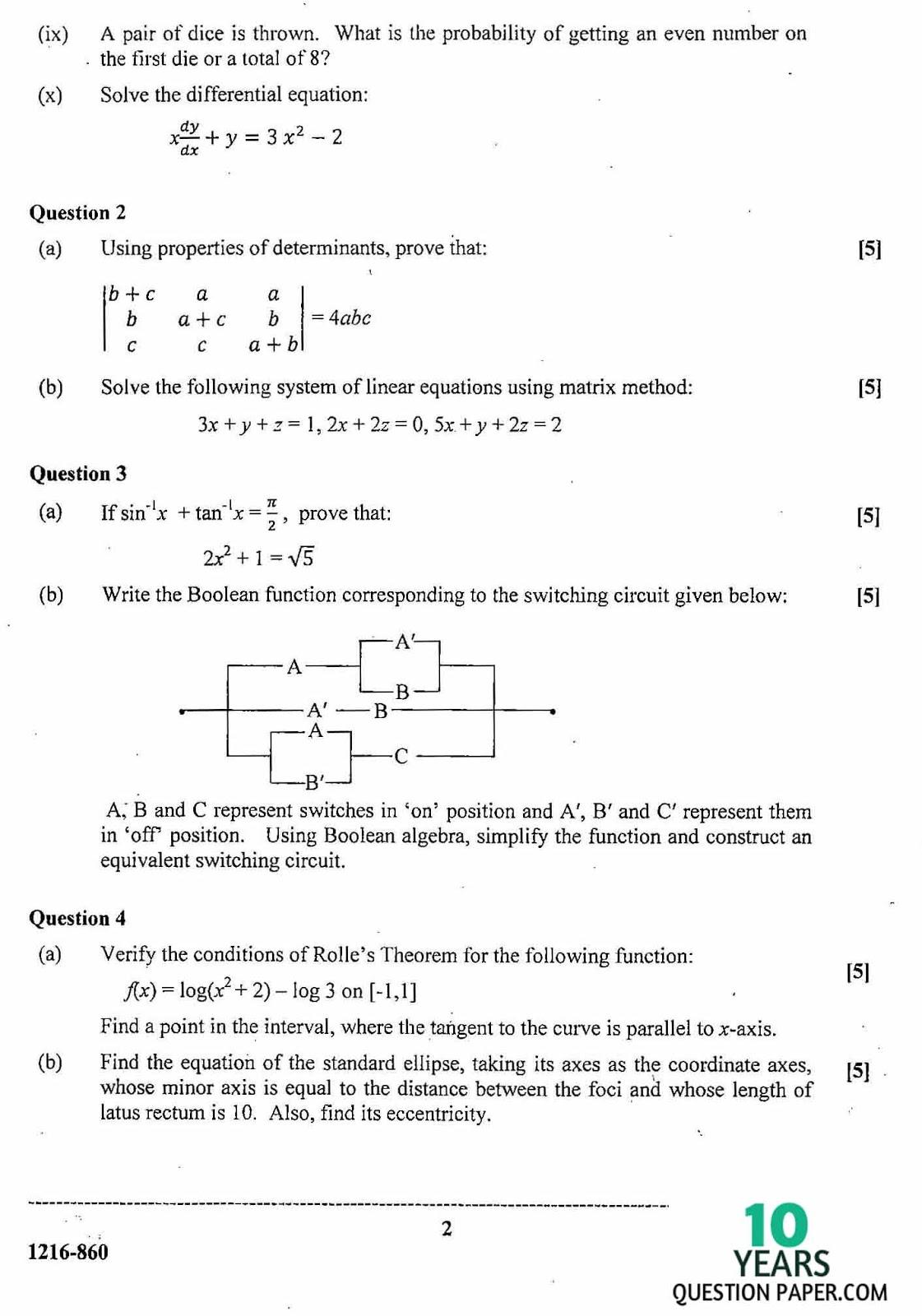 Maths Sums For Class 12
