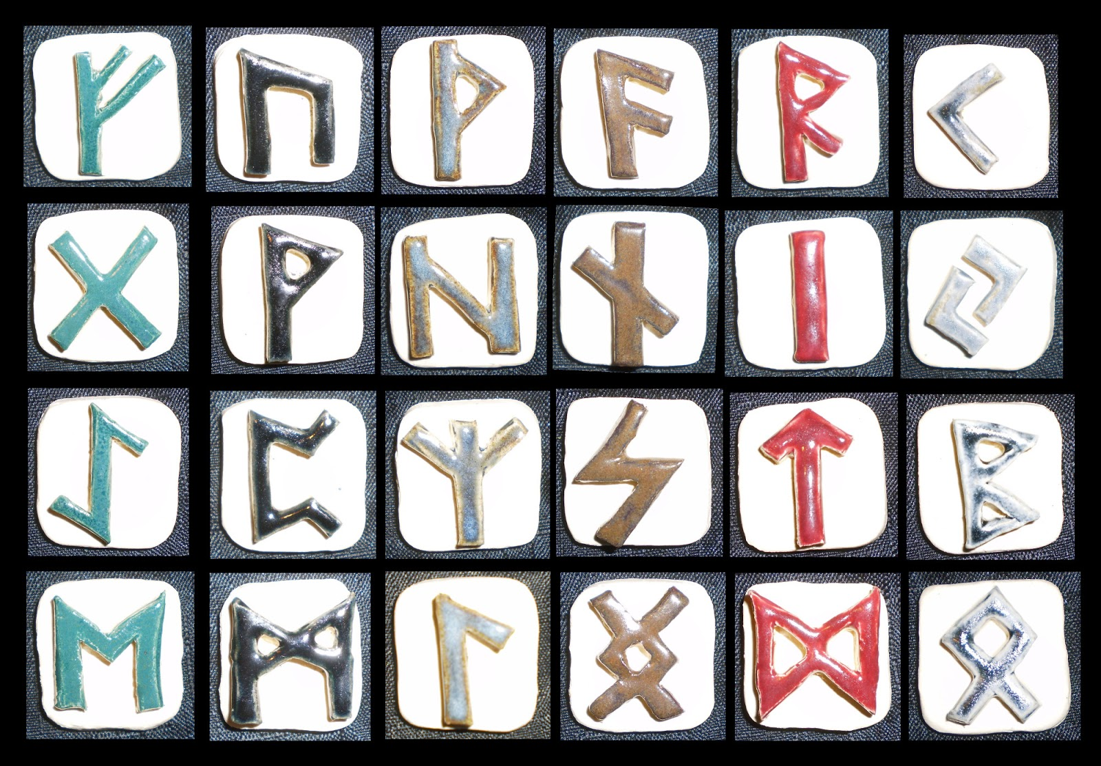Aberrant Ceramics Elder Futhark Rune Alphabet Tiles