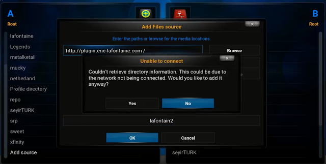 حل مشكلة could not retrieve directory information في برنامج Kodi