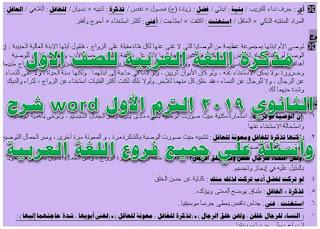 مذكرة اللغة العربية للصف الاول الثانوى 2019
