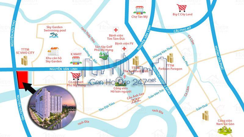 Vị trí dự án ngay ngã tư Nguyễn Văn Linh - Nguyễn Hữu Thọ