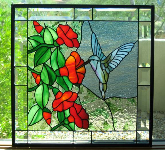 Desert Rose Art Glass Hummingbird With Trumpet Flowers
