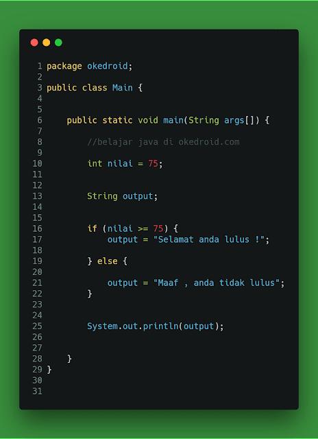 Contoh code kondisi if else java