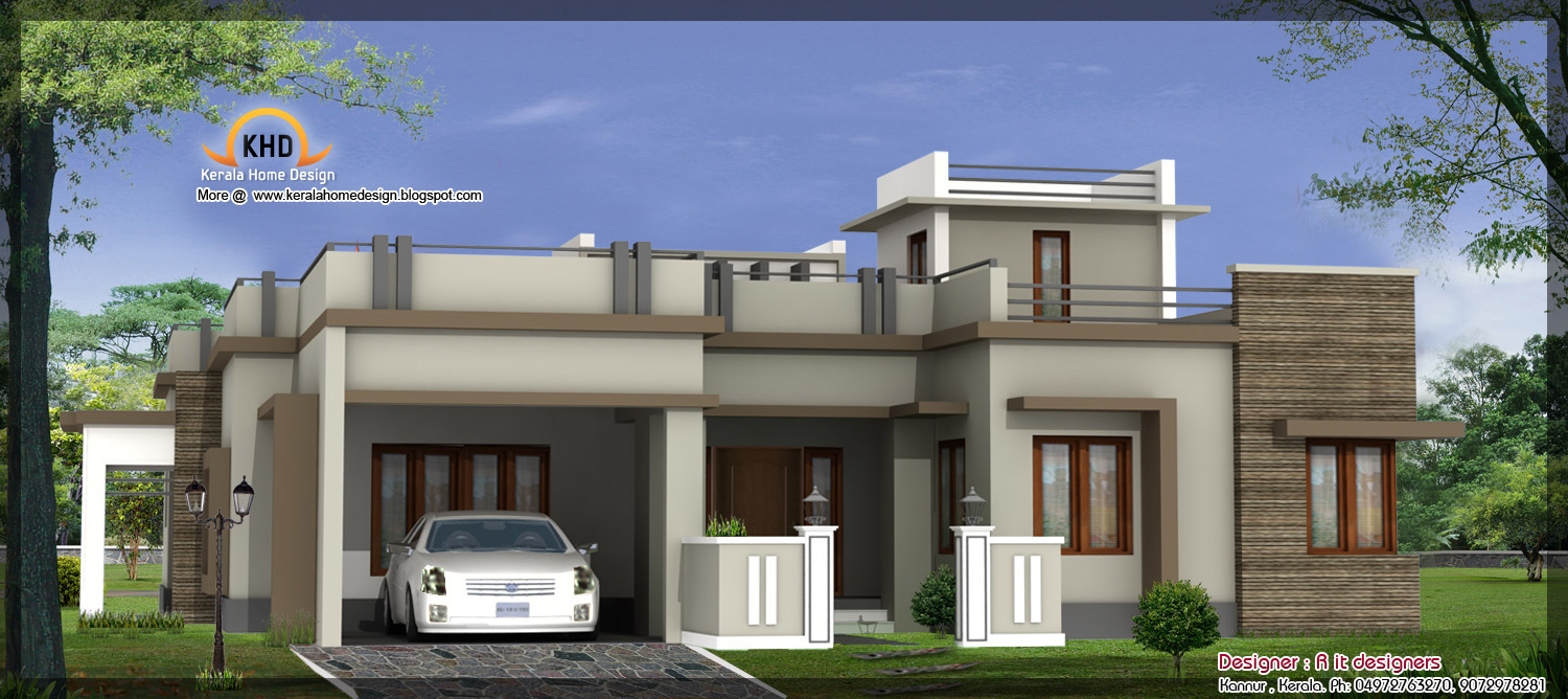 One Story Front Elevation : August kerala home design and floor plans