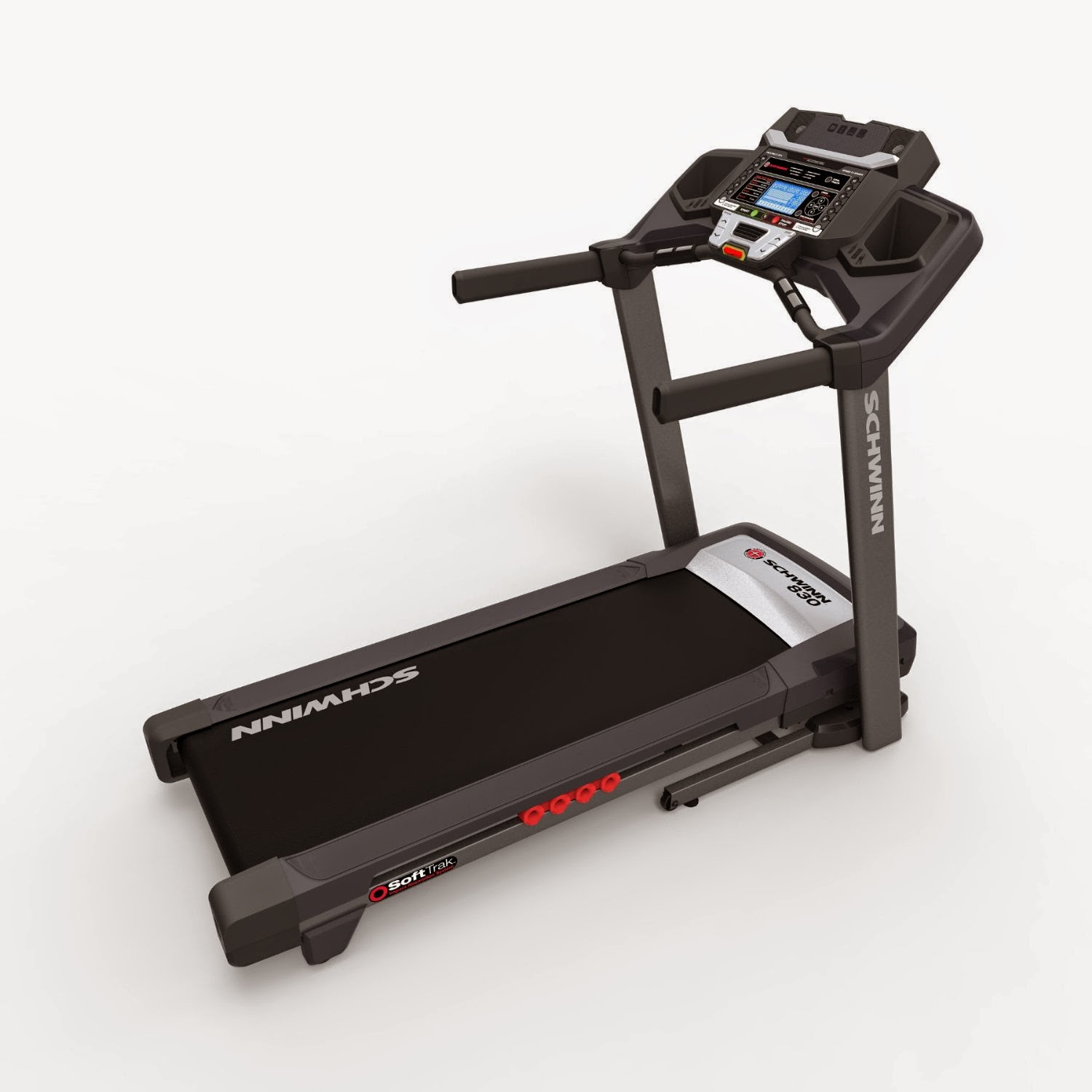 "Schwinn 830 Treadmill, review features, SoftTrack cushioning deck, 2.5"" crowned rollers, folding design, acoustic speakers, MP3 input, USB port, data export, fan, media shelf, 0-12 MPH, 22 programs, 0-12% incline"