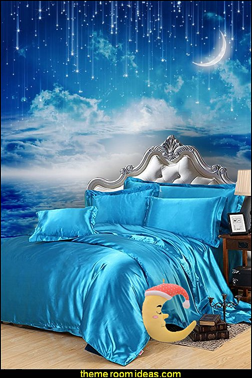 silk bedding  celestial - moon - stars - astrology - galaxy theme decorating ideas - moon stars bedroom ideas - outerspace theme bedrooms - constellation bedding - night sky wall murals - moon stars wallpaper murals - moon stars bedding - star decorations
