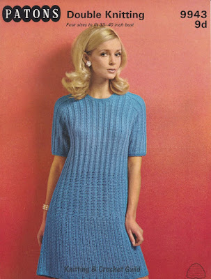 1960s vintage knitting pattern; Patons; short-sleeved blue dress