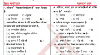 Educational Psychology Questions in Hindi