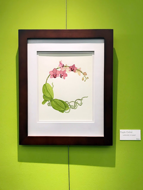 watercolor, botanical watercolor, watercolor orchid plant, art exhibit, Anne Butera, My Giant Strawberry