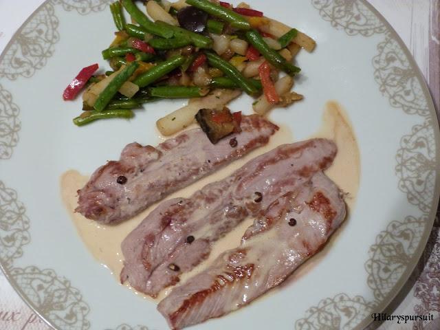 Aiguillettes de canard sauce crémeuse au foie gras
