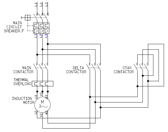 Star Delta Motor Control Power Circuit