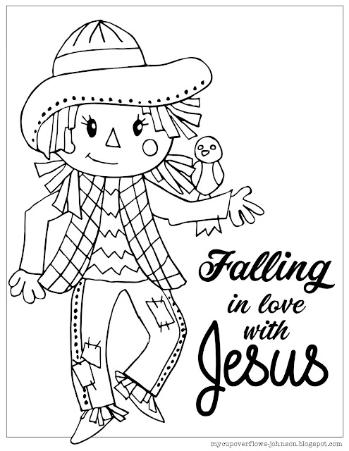 free fall coloring page with scarecrow