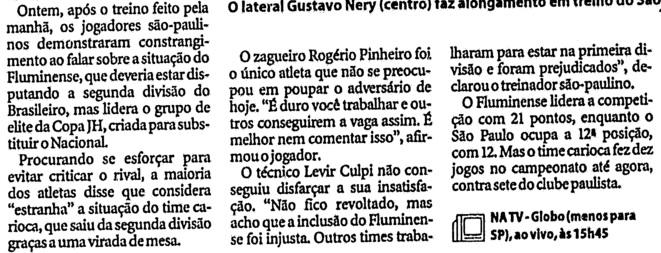 Jornalheiros Cotado Para Assumir O Flu Levir Culpi Criticou Presenca Tricolor No Brasileirao Em 2000