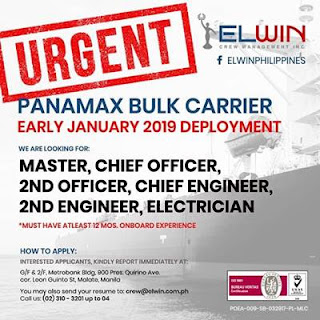 Urgent job hiring for seaman join on bulk carrier ship