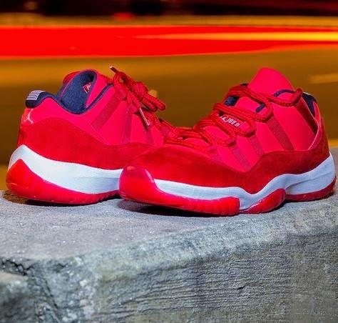 60d3312dde7 Here is a look via TheInfader at the unreleased Air Jordan 11 low Red Suede  Sample Sneaker On Foot