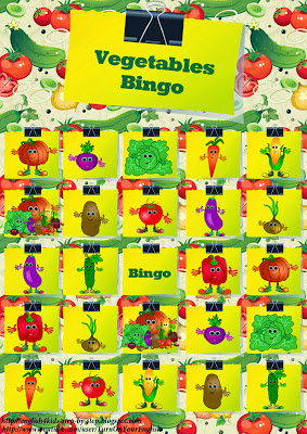 vegetables bingo game for learning english