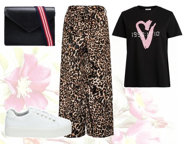 Want to wear outfit met panterprint culotte lizzy pieces shirt en witte plateau sneakers van bullboxer