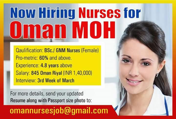 Urgent Hiring Nurses Opportunity for Nurses OMAN
