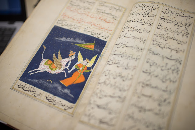 19th century Persian manuscript depicting man and horse, both with wings.