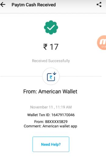 American Wallet Payment Proof: