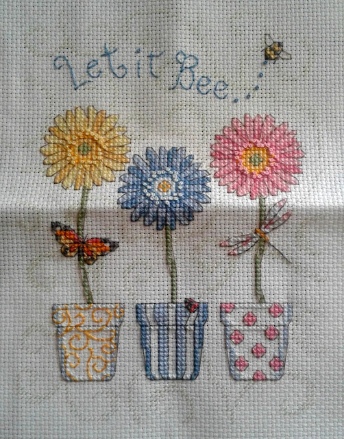 Let It Bee... Floral Counted Cross Stitch Completed