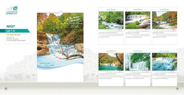 NH37 - Suối nguồn lộc phát, Lịch treo tường 7 tờ, in lịch, mẫu lịch đẹp, lịch phong cảnh