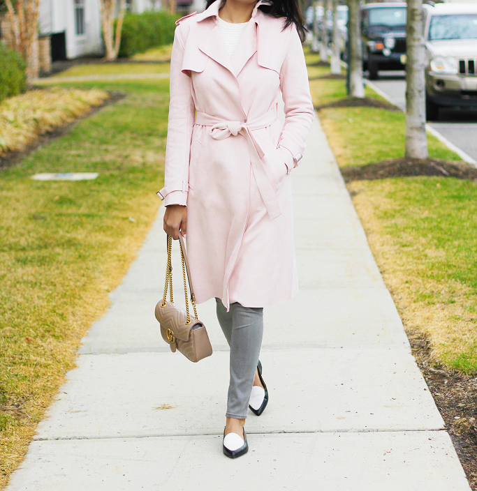 Suede Trench Coat, Suede Blush Trench Coat, Antonio Melani Suede Trench Coat, Millenial Pink Trench Coat, Everlane Modern Point Loafers, Pointy, Gucci Marmont Soft Rose Small Flap