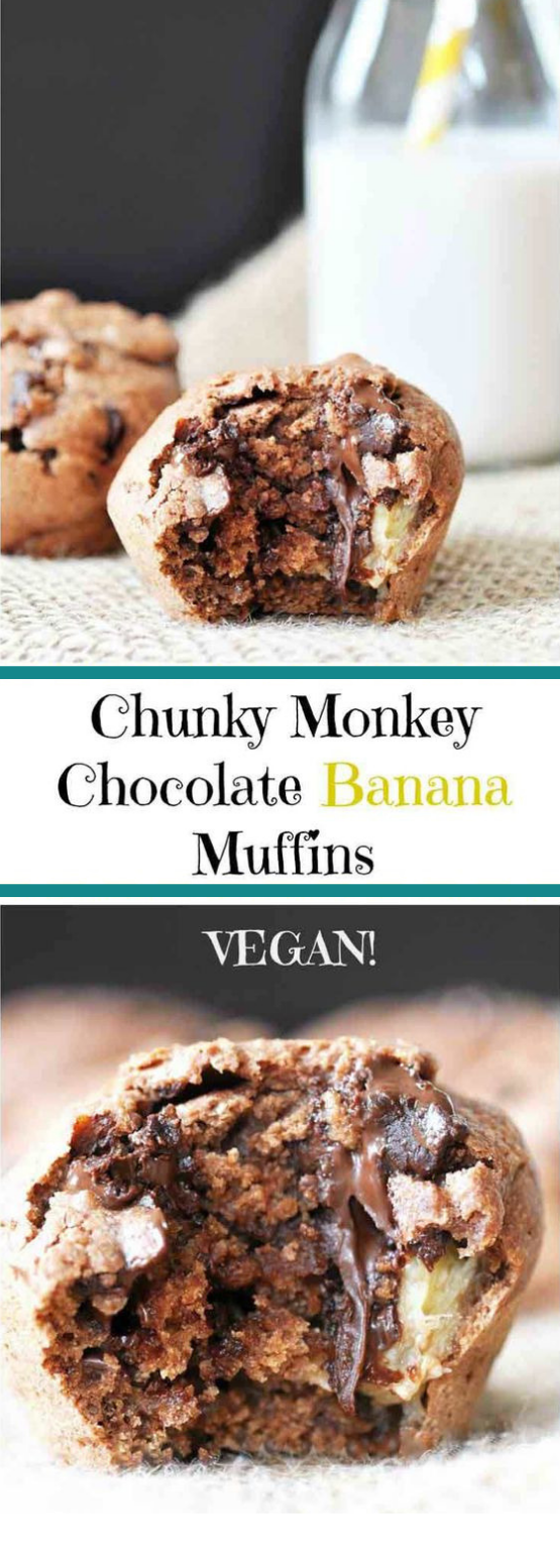 CHUNKY MONKEY CHOCOLATE BANANA MUFFINS (VEGAN) #chocolate #cake